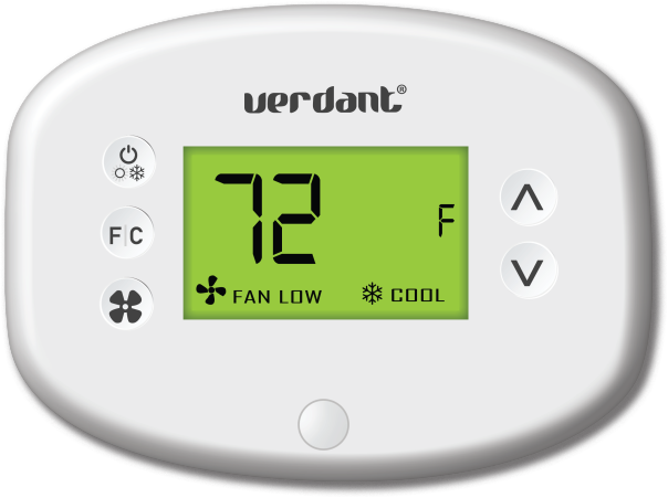 Image of a white colored Verdant VX thermostat